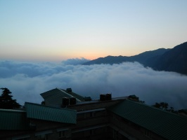 Low clouds behind hostel