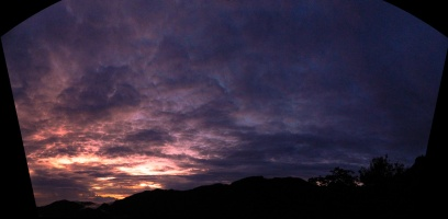Wide angle panaroma on the colorful sky